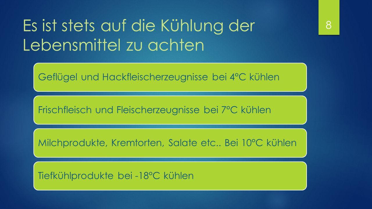 Es ist stets auf die Kühlung der Lebensmittel zu achten Geflügel und Hackfleischerzeugnisse bei 4°C kühlenFrischfleisch und Fleischerzeugnisse bei 7°C