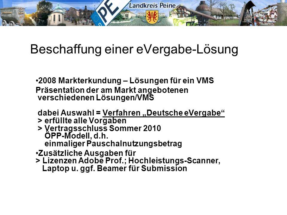 Beschaffung einer eVergabe-Lösung 2008 Markterkundung – Lösungen für ein VMS Präsentation der am Markt angebotenen verschiedenen Lösungen/VMS dabei Au