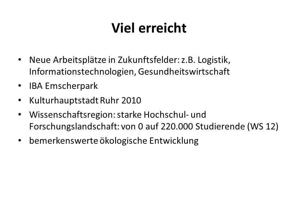 Viel erreicht Neue Arbeitsplätze in Zukunftsfelder: z.B.