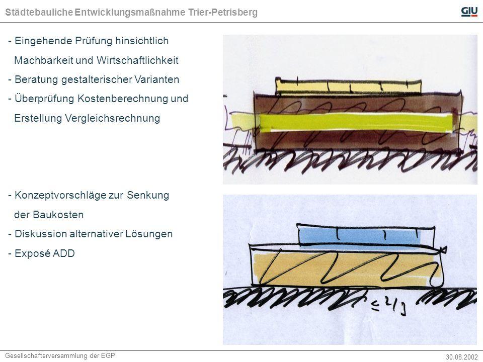 Städtebauliche Entwicklungsmaßnahme Trier-Petrisberg Gesellschafterversammlung der EGP 30.08.2002 - Eingehende Prüfung hinsichtlich Machbarkeit und Wirtschaftlichkeit - Beratung gestalterischer Varianten - Überprüfung Kostenberechnung und Erstellung Vergleichsrechnung - Konzeptvorschläge zur Senkung der Baukosten - Diskussion alternativer Lösungen - Exposé ADD