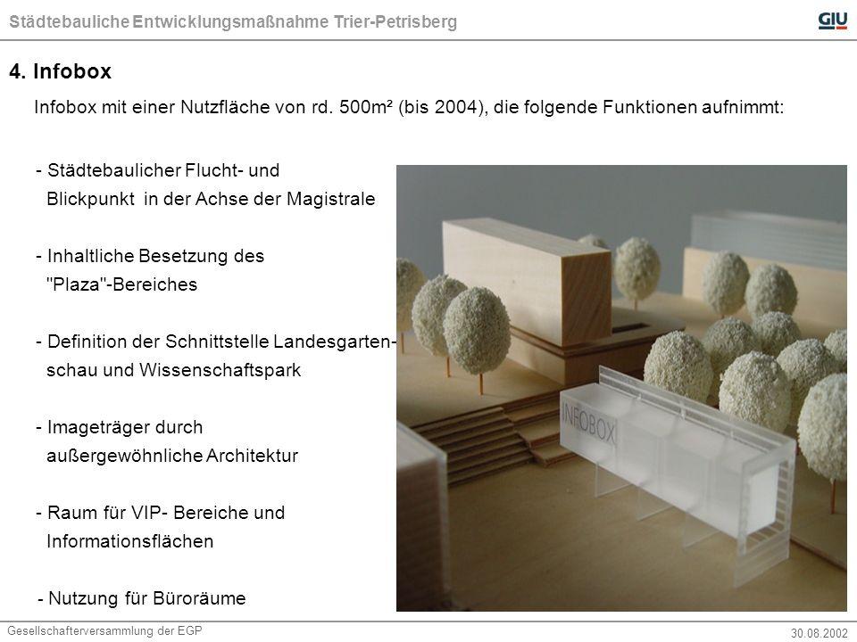 Städtebauliche Entwicklungsmaßnahme Trier-Petrisberg Gesellschafterversammlung der EGP30.08.2002 Fazit: Leitinvestitionen bis zum Jahre 2004: a.