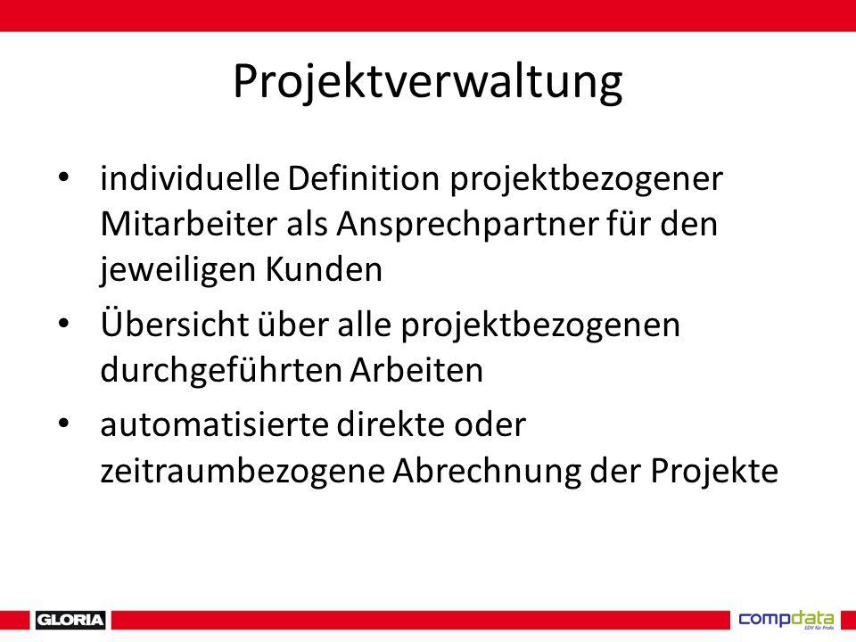 Projektverwaltung individuelle Definition projektbezogener Mitarbeiter als Ansprechpartner für den jeweiligen Kunden Übersicht über alle projektbezogenen durchgeführten Arbeiten automatisierte direkte oder zeitraumbezogene Abrechnung der Projekte
