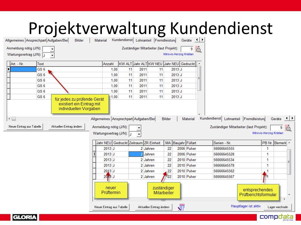 Projektverwaltung Kundendienst