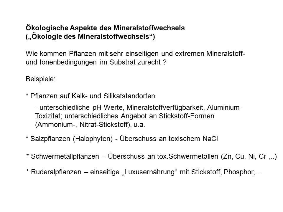 """Ökologische Aspekte des Mineralstoffwechsels (""""Ökologie des Mineralstoffwechsels ) Wie kommen Pflanzen mit sehr einseitigen und extremen Mineralstoff- und Ionenbedingungen im Substrat zurecht ."""