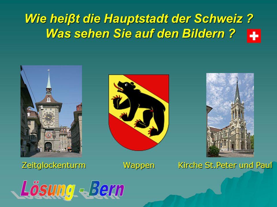Wie heiβt die Hauptstadt der Schweiz . Was sehen Sie auf den Bildern .