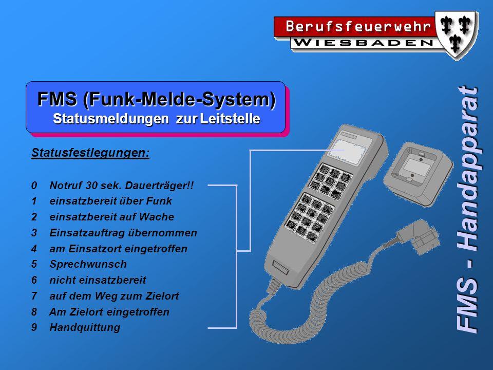 FMS (Funk-Melde-System) Statusmeldungen zur Leitstelle FMS - Handapparat Statusfestlegungen: 0 Notruf 30 sek. Dauerträger!! 1 einsatzbereit über Funk