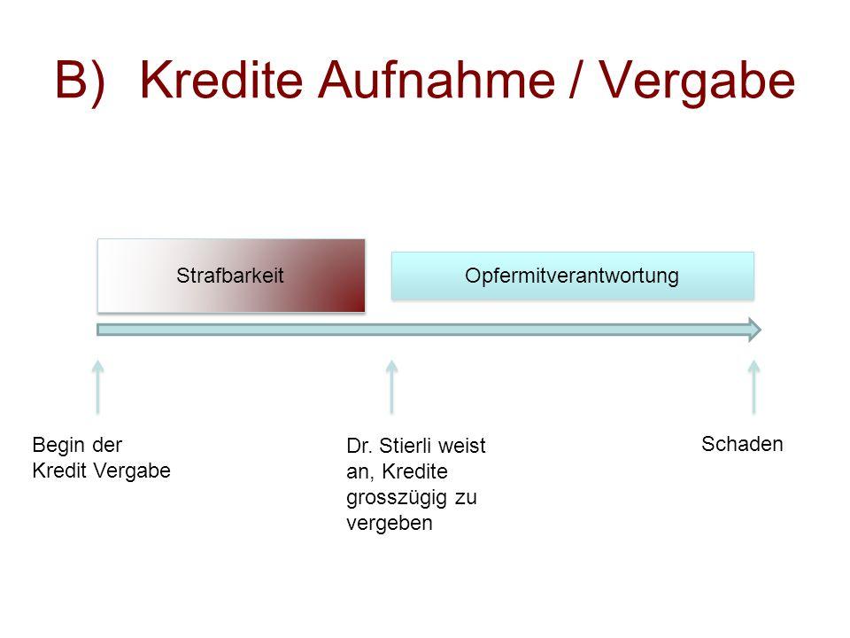 Dr. Stierli weist an, Kredite grosszügig zu vergeben Schaden Begin der Kredit Vergabe Opfermitverantwortung Strafbarkeit