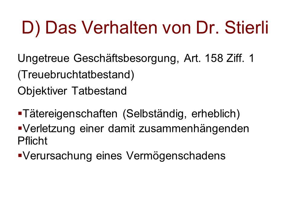 D) Das Verhalten von Dr. Stierli Ungetreue Geschäftsbesorgung, Art. 158 Ziff. 1 (Treuebruchtatbestand) Objektiver Tatbestand  Tätereigenschaften (Sel