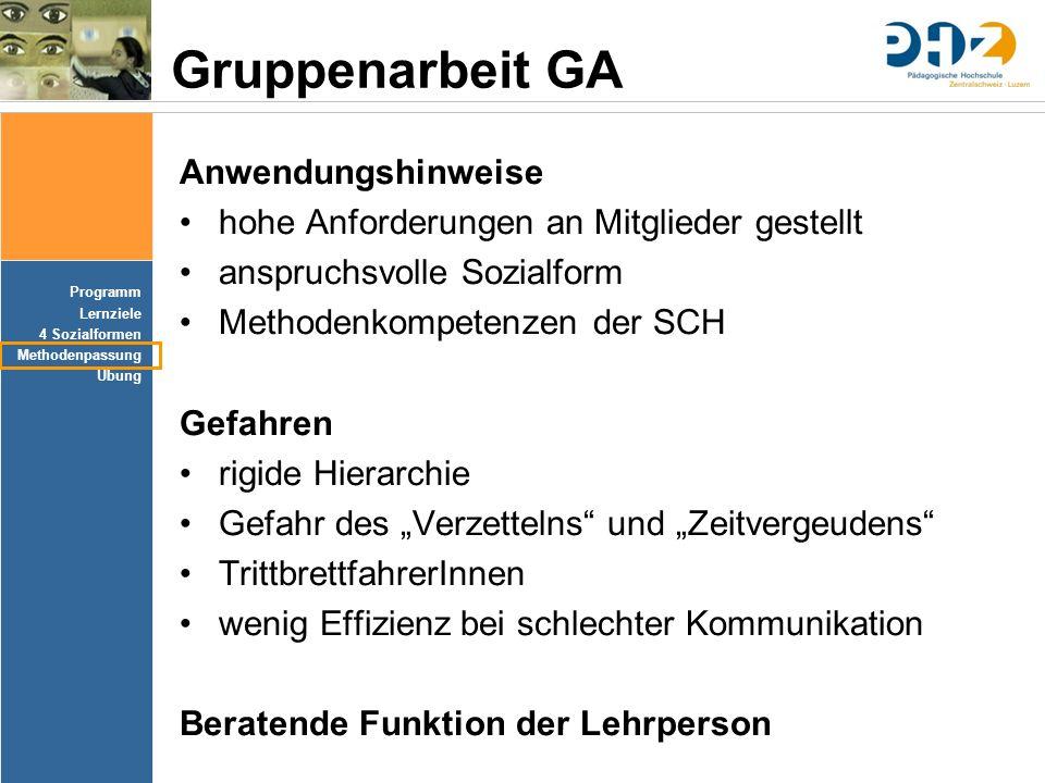 Programm Lernziele 4 Sozialformen Methodenpassung Übung Gruppenarbeit GA Anwendungshinweise hohe Anforderungen an Mitglieder gestellt anspruchsvolle S