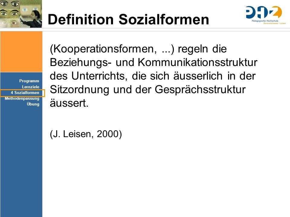 Programm Lernziele 4 Sozialformen Methodenpassung Übung Definition Sozialformen (Kooperationsformen,...) regeln die Beziehungs- und Kommunikationsstru