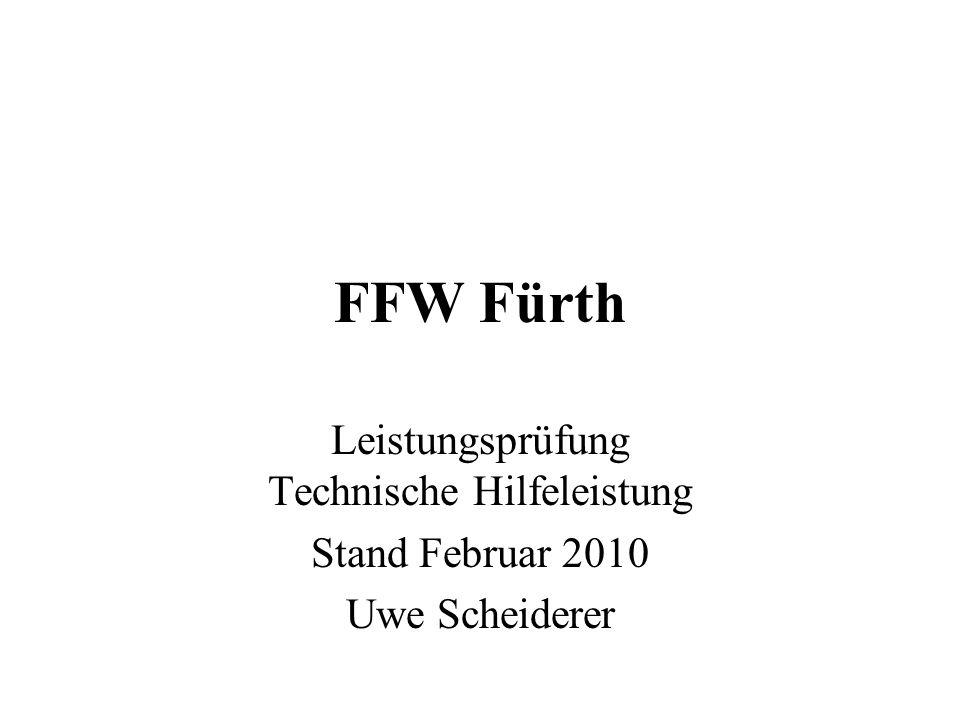 FFW Fürth Leistungsprüfung Technische Hilfeleistung Stand Februar 2010 Uwe Scheiderer