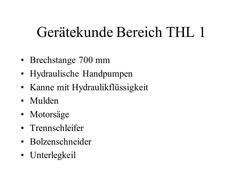 Gerätekunde Bereich THL 1 Brechstange 700 mm Hydraulische Handpumpen Kanne mit Hydraulikflüssigkeit Mulden Motorsäge Trennschleifer Bolzenschneider Un
