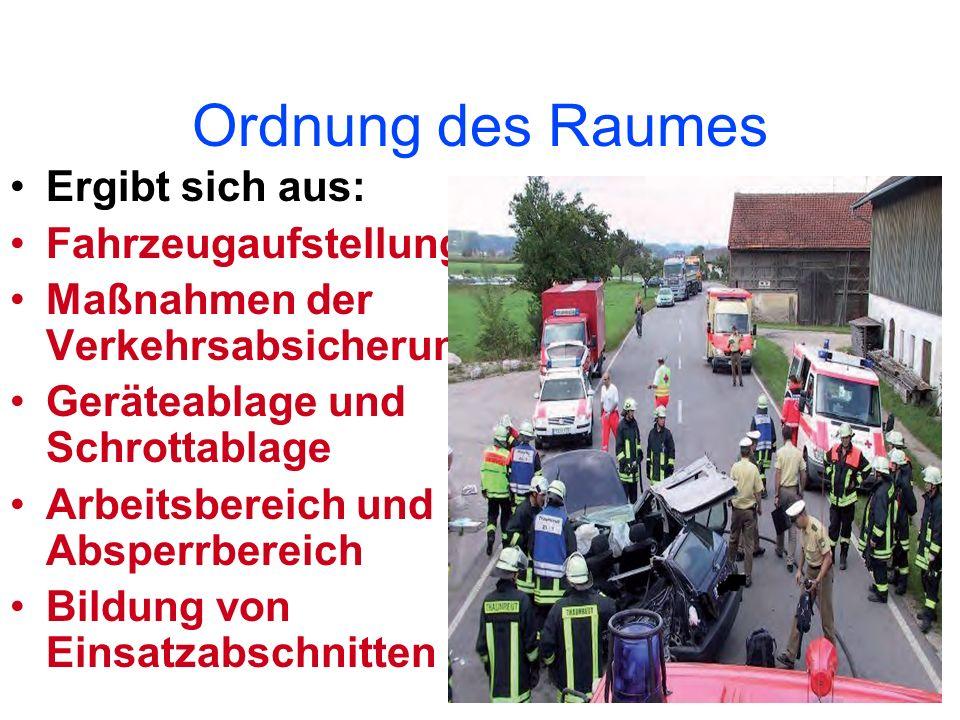 Ordnung des Raumes Ergibt sich aus: Fahrzeugaufstellung Maßnahmen der Verkehrsabsicherung Geräteablage und Schrottablage Arbeitsbereich und Absperrber
