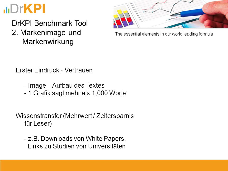 DrKPI Benchmark Tool 2. Markenimage und Markenwirkung Erster Eindruck - Vertrauen - Image – Aufbau des Textes - 1 Grafik sagt mehr als 1,000 Worte Wis
