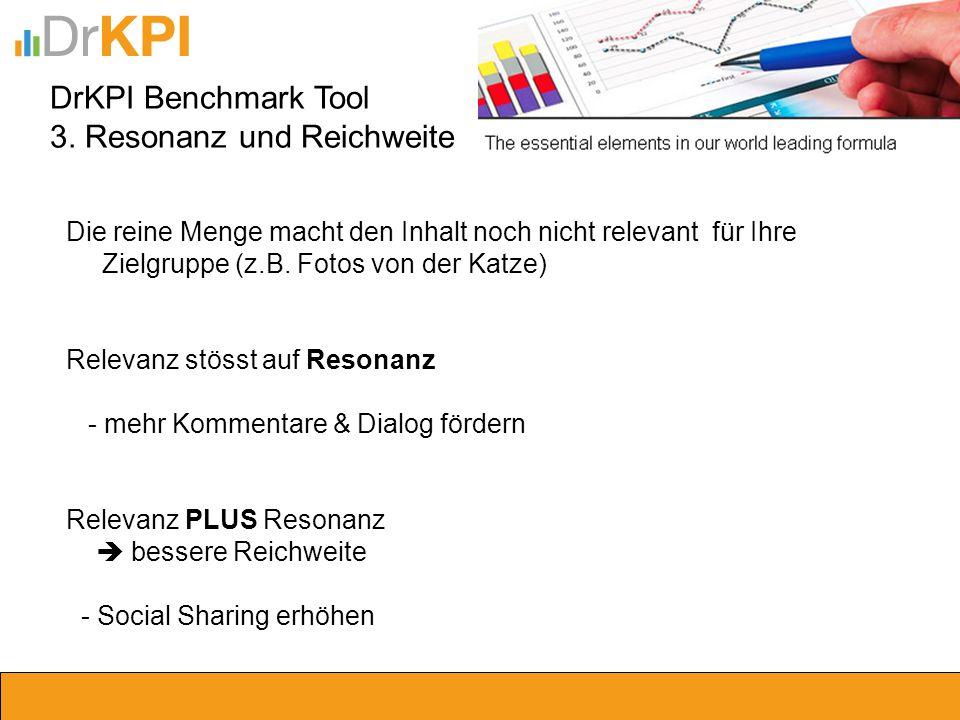 DrKPI Benchmark Tool 3. Resonanz und Reichweite Die reine Menge macht den Inhalt noch nicht relevant für Ihre Zielgruppe (z.B. Fotos von der Katze) Re