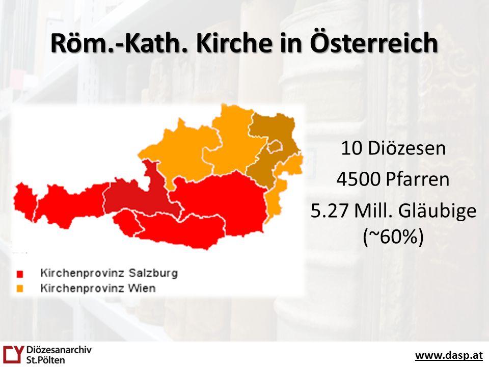 www.dasp.at Archive Diözesane Einrichtungen Orden Diözesen, Dekanate, Pfarren Stifte, Klöster, Kongregationen www.kirchenarchive.at www.ordensarchive.at