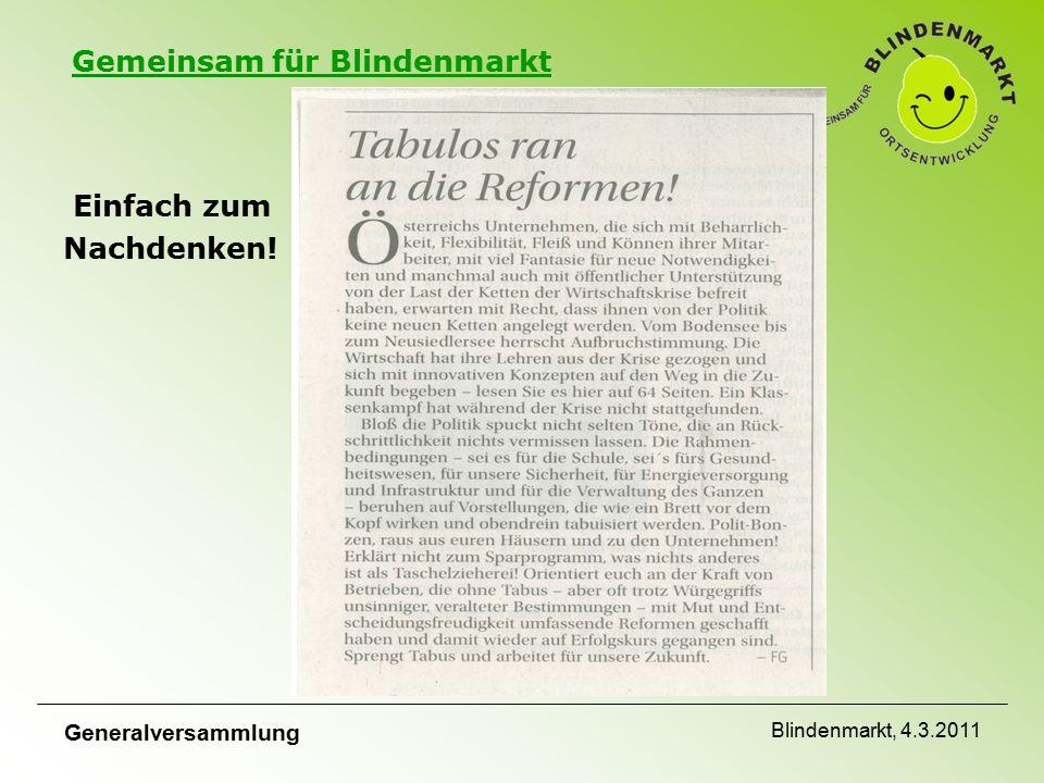 Gemeinsam für Blindenmarkt Einfach zum Nachdenken! Generalversammlung Blindenmarkt, 4.3.2011