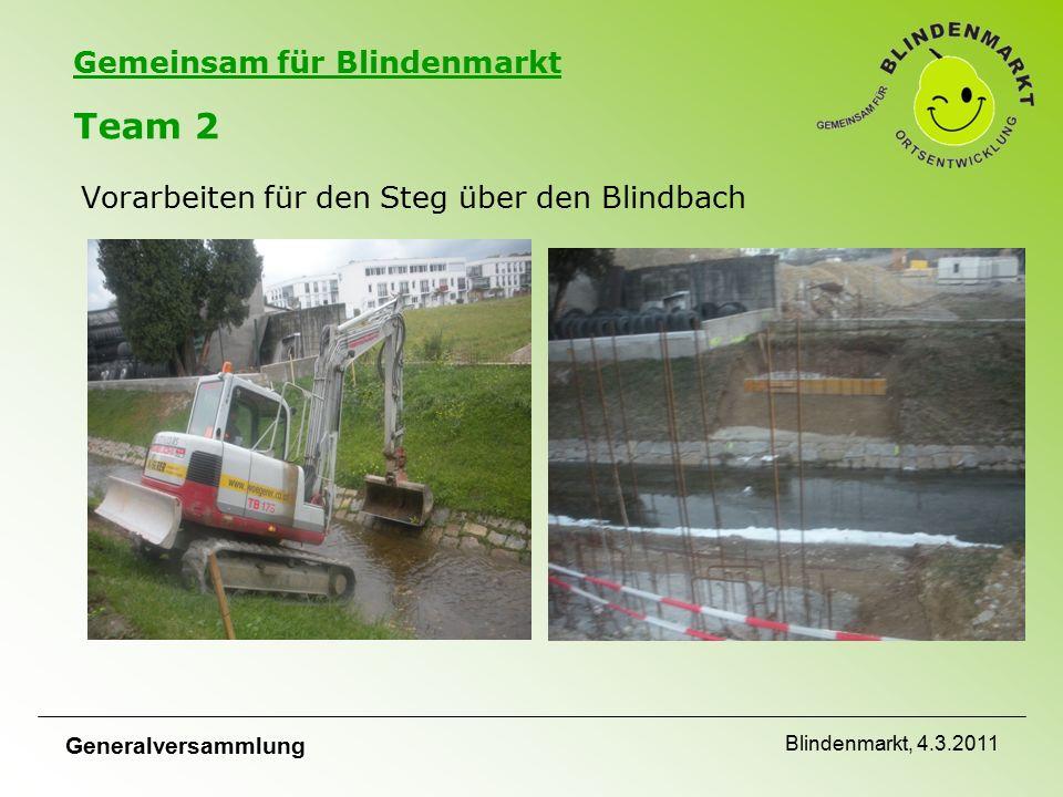 Gemeinsam für Blindenmarkt Team 2 Vorarbeiten für den Steg über den Blindbach Generalversammlung Blindenmarkt, 4.3.2011