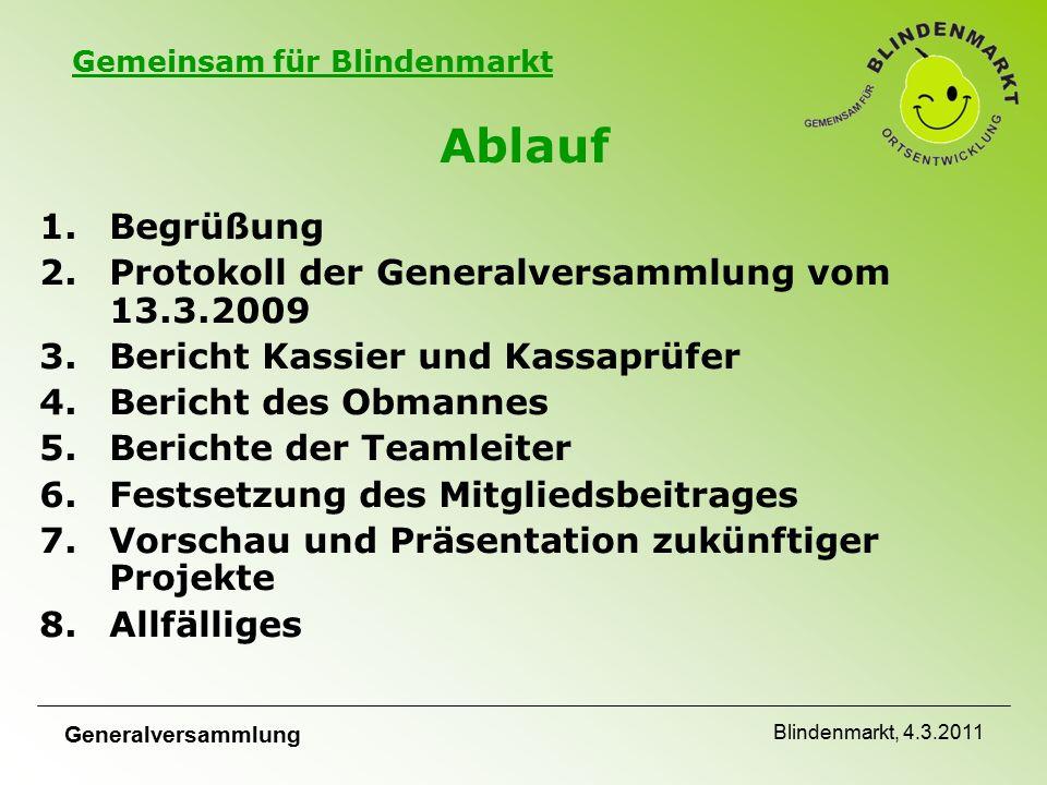 Gemeinsam für Blindenmarkt Zukünftige Projekte Fertigstellung des Steges über den Blindbach u.