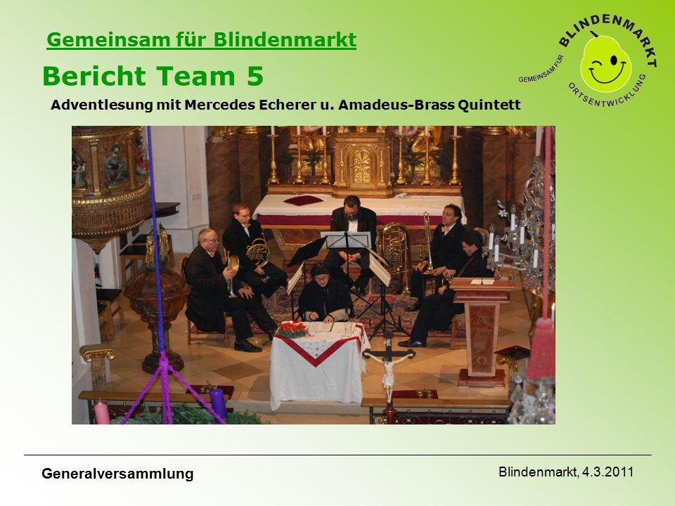 Gemeinsam für Blindenmarkt Bericht Team 5 Adventlesung mit Mercedes Echerer u.