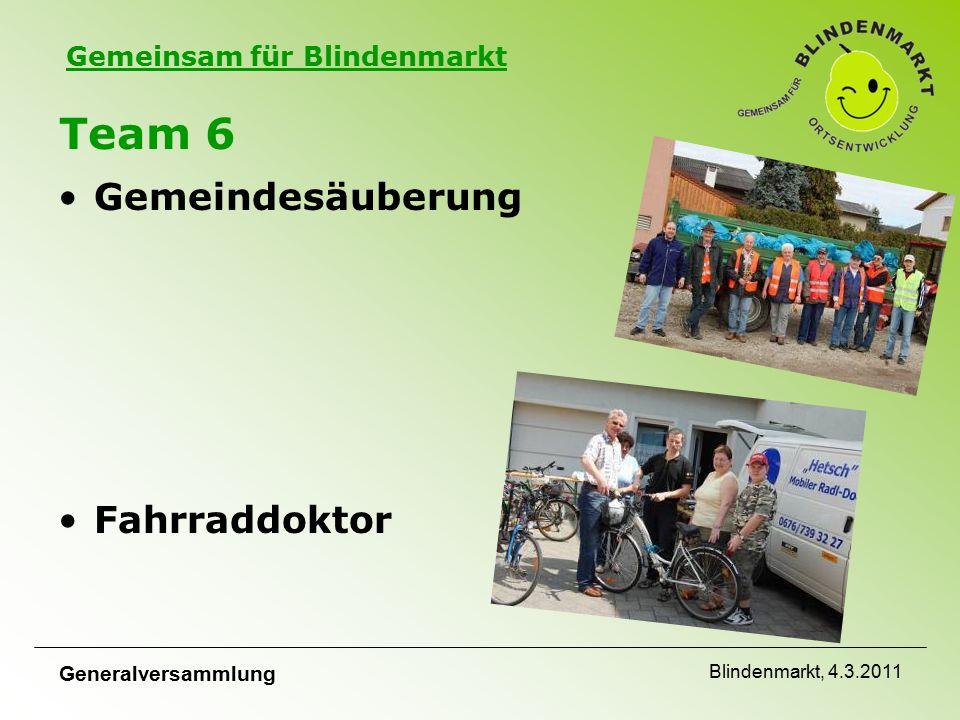 Gemeinsam für Blindenmarkt Generalversammlung Blindenmarkt, 4.3.2011 Team 6 Gemeindesäuberung Fahrraddoktor