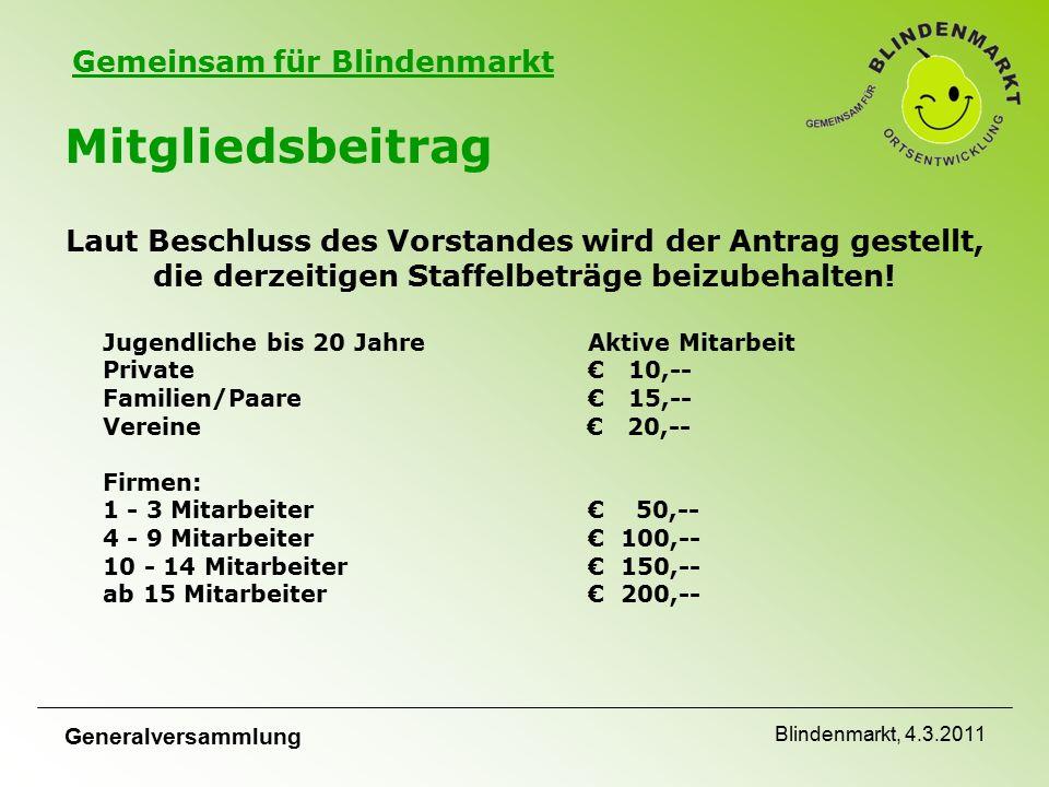 Gemeinsam für Blindenmarkt Generalversammlung Blindenmarkt, 4.3.2011 Mitgliedsbeitrag Laut Beschluss des Vorstandes wird der Antrag gestellt, die derzeitigen Staffelbeträge beizubehalten.