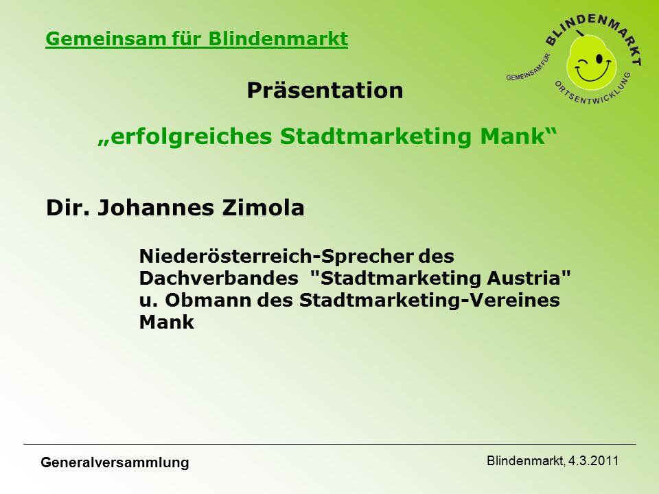 """Gemeinsam für Blindenmarkt Präsentation """"erfolgreiches Stadtmarketing Mank Dir."""
