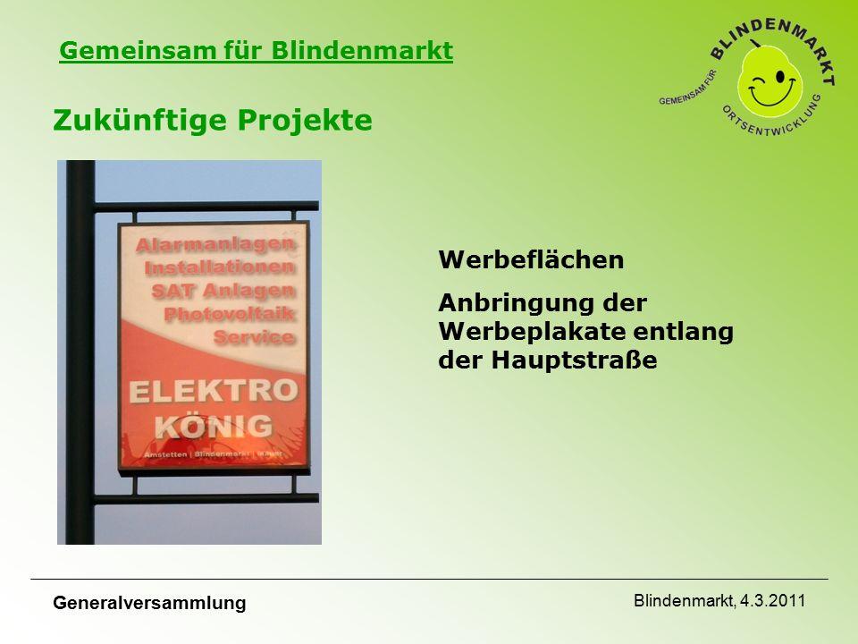 Gemeinsam für Blindenmarkt Zukünftige Projekte Werbeflächen Anbringung der Werbeplakate entlang der Hauptstraße Generalversammlung Blindenmarkt, 4.3.2011