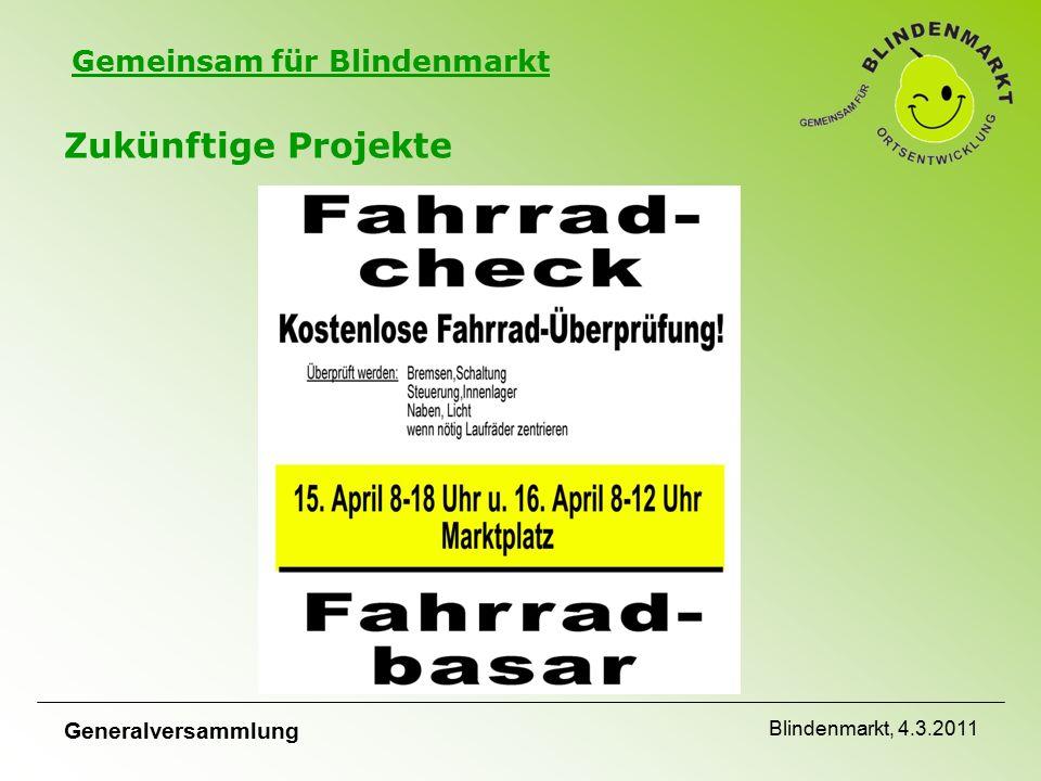 Gemeinsam für Blindenmarkt Zukünftige Projekte Generalversammlung Blindenmarkt, 4.3.2011