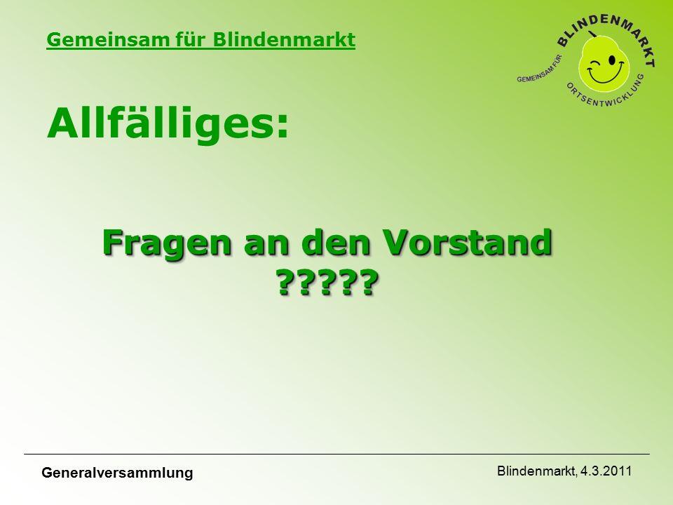Gemeinsam für Blindenmarkt Generalversammlung Blindenmarkt, 4.3.2011 Fragen an den Vorstand .