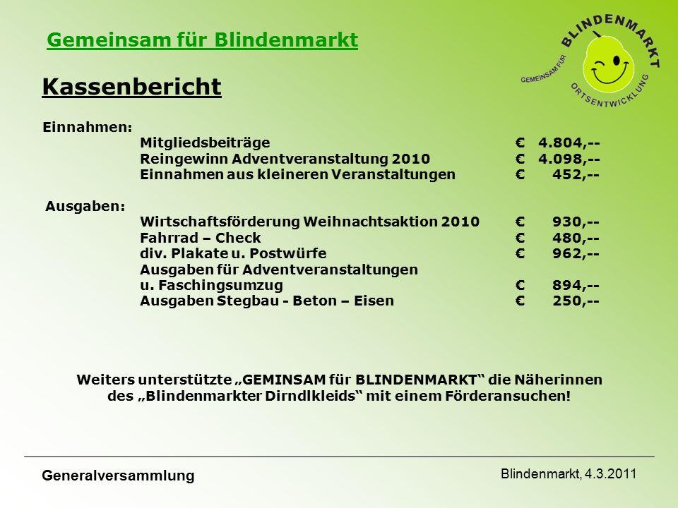 Gemeinsam für Blindenmarkt Generalversammlung Blindenmarkt, 4.3.2011 Fragen an den Vorstand ????.