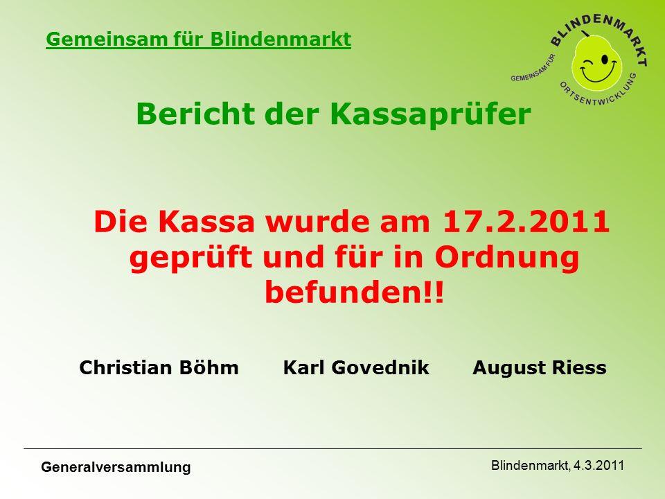 Gemeinsam für Blindenmarkt Generalversammlung Blindenmarkt, 4.3.2011 Bericht der Kassaprüfer Die Kassa wurde am 17.2.2011 geprüft und für in Ordnung befunden!.