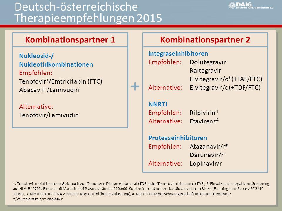 Kombinationspartner 1 Kombinationspartner 2 Nukleosid-/ Nukleotidkombinationen Empfohlen: Tenofovir 1 /Emtricitabin (FTC) Abacavir 2 /Lamivudin Altern