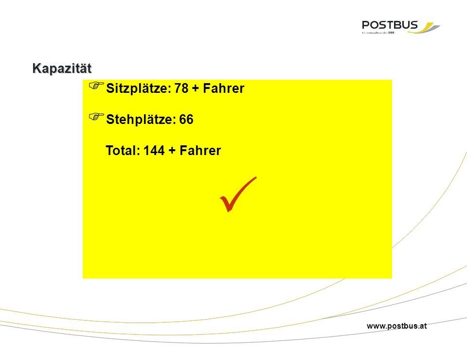 Kapazität  Sitzplätze: 78 + Fahrer  Stehplätze: 66 Total: 144 + Fahrer  www.postbus.at