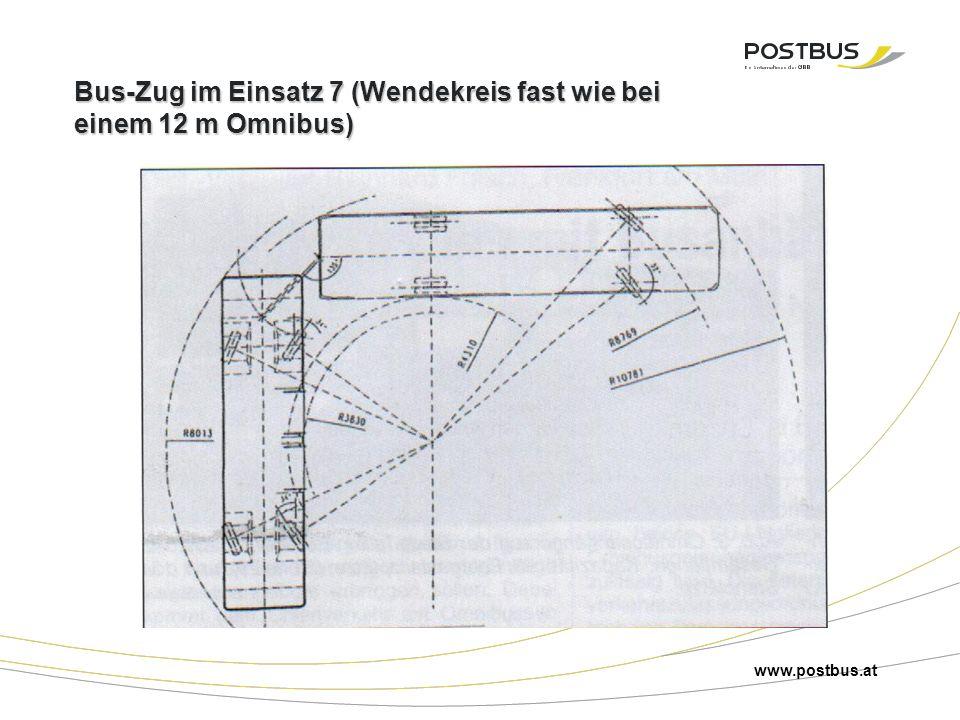 Bus-Zug im Einsatz 7 (Wendekreis fast wie bei einem 12 m Omnibus) www.postbus.at