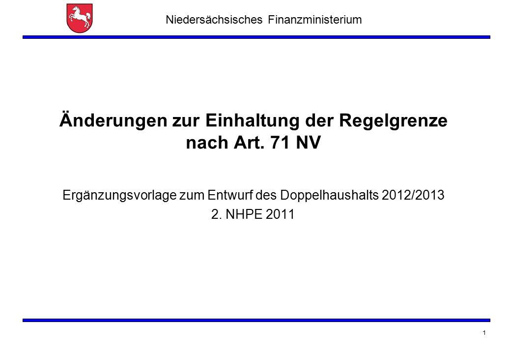 Niedersächsisches Finanzministerium 1 Änderungen zur Einhaltung der Regelgrenze nach Art. 71 NV Ergänzungsvorlage zum Entwurf des Doppelhaushalts 2012