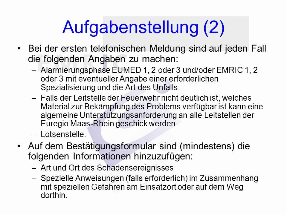 Aufgabenstellung (2) Bei der ersten telefonischen Meldung sind auf jeden Fall die folgenden Angaben zu machen: –Alarmierungsphase EUMED 1, 2 oder 3 un