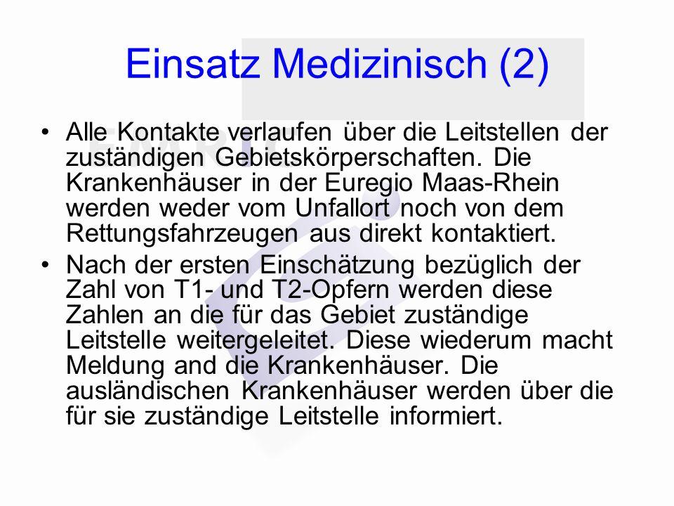 Einsatz Medizinisch (2) Alle Kontakte verlaufen über die Leitstellen der zuständigen Gebietskörperschaften. Die Krankenhäuser in der Euregio Maas-Rhei