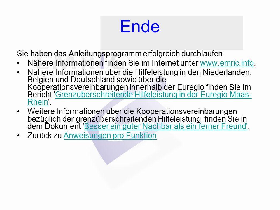 Ende Sie haben das Anleitungsprogramm erfolgreich durchlaufen. Nähere Informationen finden Sie im Internet unter www.emric.info.www.emric.info Nähere