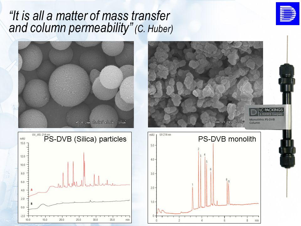 """It is all a matter of mass transfer and column permeability"" (C. Huber) PS-DVB (Silica) particlesPS-DVB monolith"