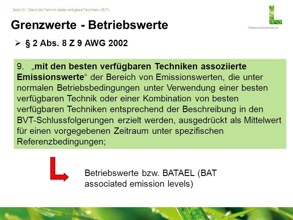 """Seite 13 / Stand der Technik (beste verfügbare Techniken – BVT) Grenzwerte - Betriebswerte 9.""""mit den besten verfügbaren Techniken assoziierte Emissionswerte der Bereich von Emissionswerten, die unter normalen Betriebsbedingungen unter Verwendung einer besten verfügbaren Technik oder einer Kombination von besten verfügbaren Techniken entsprechend der Beschreibung in den BVT-Schlussfolgerungen erzielt werden, ausgedrückt als Mittelwert für einen vorgegebenen Zeitraum unter spezifischen Referenzbedingungen;  § 2 Abs."""