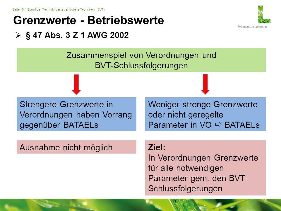 Seite 16 / Stand der Technik (beste verfügbare Techniken – BVT)  § 47 Abs.