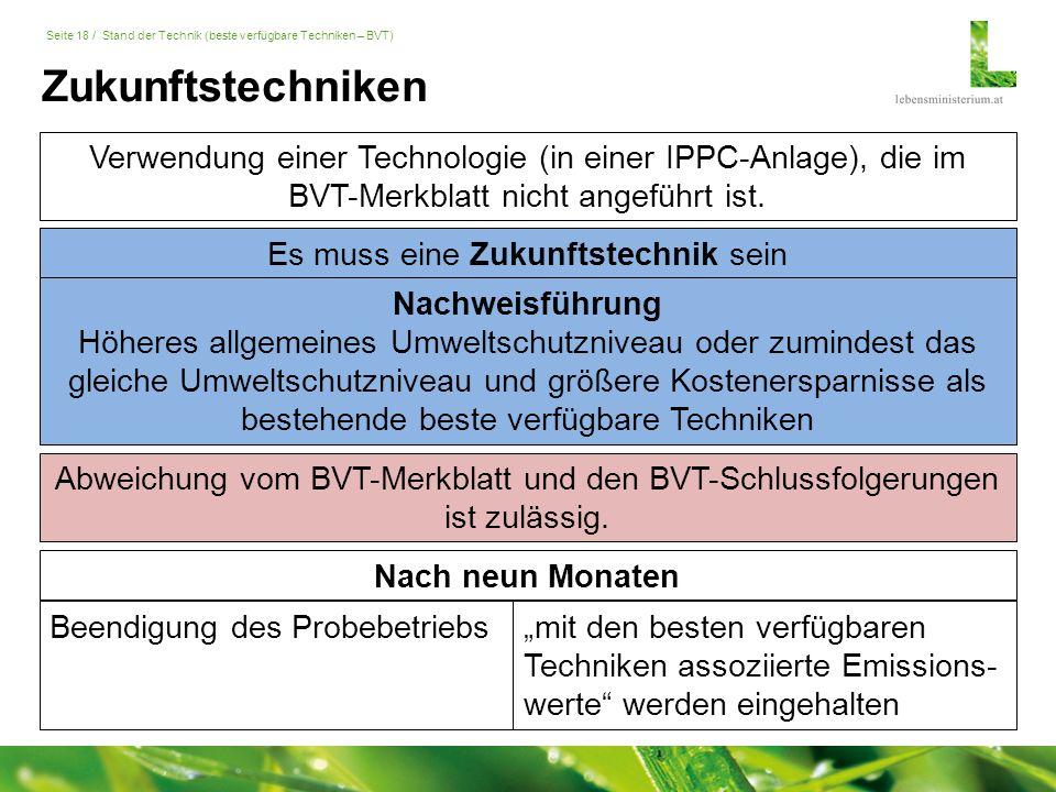 Seite 18 / Stand der Technik (beste verfügbare Techniken – BVT) Beendigung des Probebetriebs Nach neun Monaten Verwendung einer Technologie (in einer IPPC-Anlage), die im BVT-Merkblatt nicht angeführt ist.