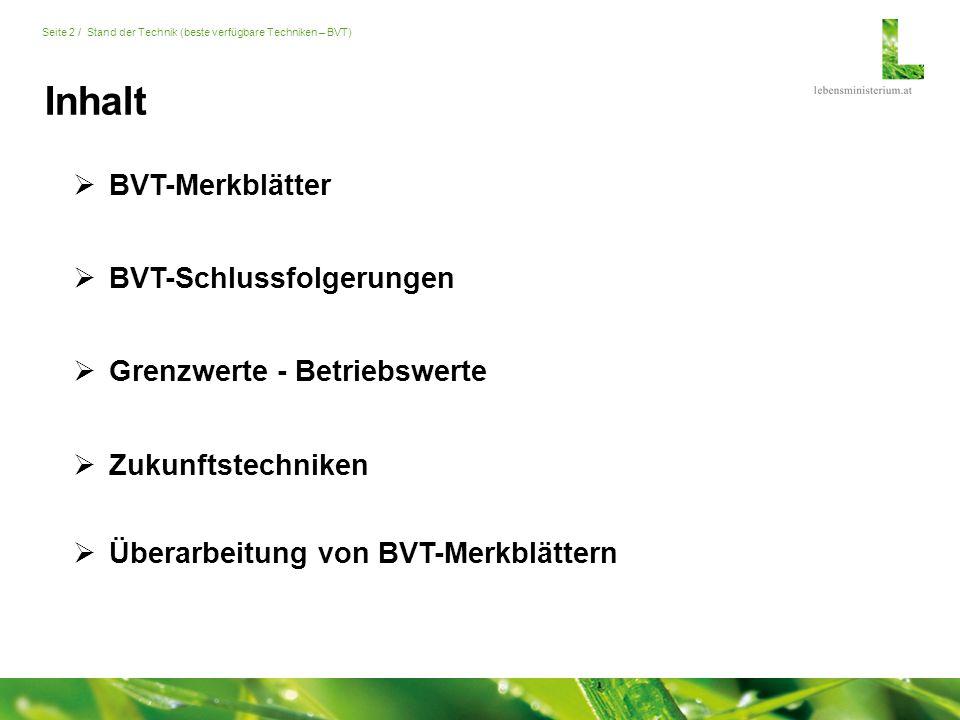 Seite 2 / Stand der Technik (beste verfügbare Techniken – BVT) Inhalt  Zukunftstechniken  BVT-Merkblätter  Grenzwerte - Betriebswerte  BVT-Schlussfolgerungen  Überarbeitung von BVT-Merkblättern