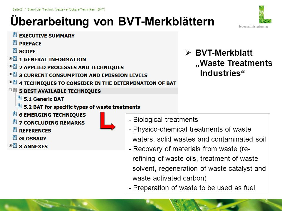 "Seite 21 / Stand der Technik (beste verfügbare Techniken – BVT)  BVT-Merkblatt ""Waste Treatments Industries"" - Biological treatments - Physico-chemic"