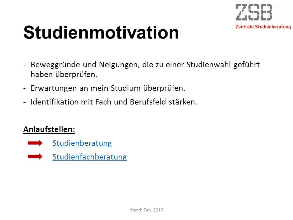 Studienmotivation -Beweggründe und Neigungen, die zu einer Studienwahl geführt haben überprüfen. -Erwartungen an mein Studium überprüfen. -Identifikat