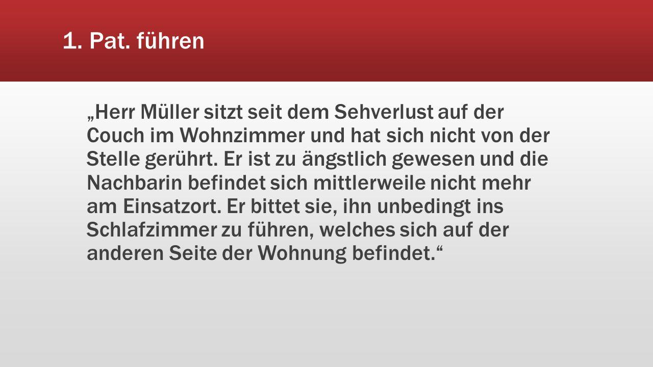 """1. Pat. führen """"Herr Müller sitzt seit dem Sehverlust auf der Couch im Wohnzimmer und hat sich nicht von der Stelle gerührt. Er ist zu ängstlich gewes"""