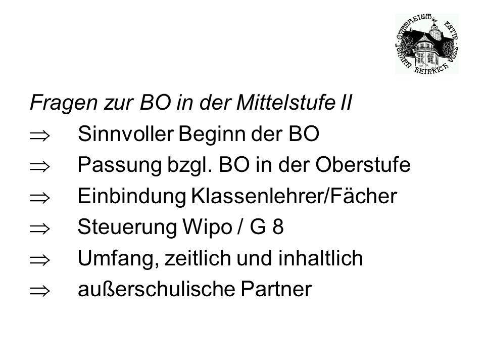 BO-Elemente der Voß-Schule  Betriebspraktikum (2 Wo.) seit 2003 in Klasse 10  Einbindung in das Fach Geographie  BWP seit 2008 / Erprobung  BWP seit 2009, alle 9.