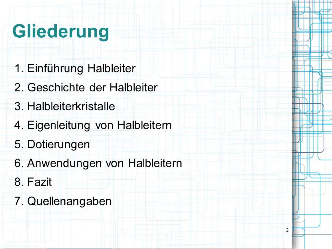 3 1. Einführung Halbleiter 1.1 Definition von Halbleiter 1.2 Einteilungen der Elemente