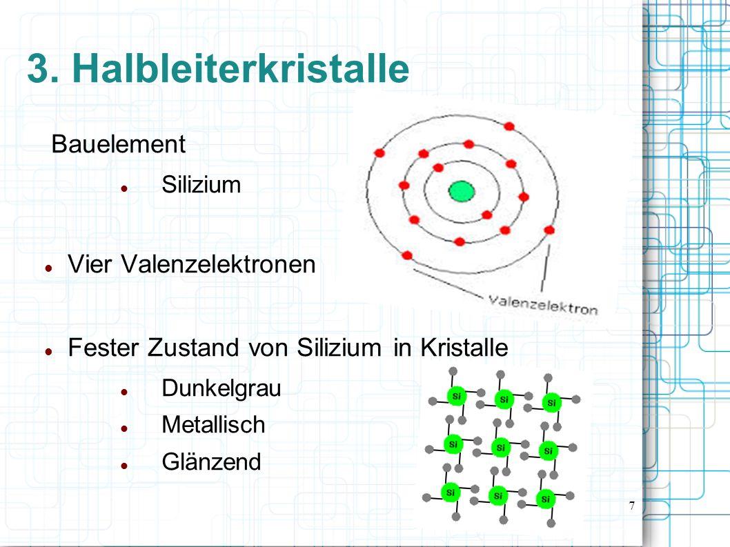 8 4. Eigenleitung von Halbleitern 4.1 Entstehung von Ladungsträgern 4.2 Zwei Leitungsmechanismen
